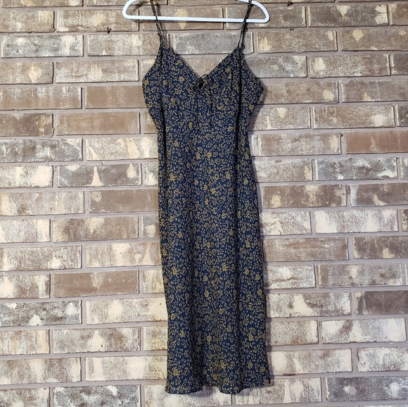 New York & Company Dresses & Skirts - NY&CO Navy Gold Floral A line Dress size 12